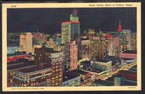Night Scene Heart of Dallas TX Postcard 4111