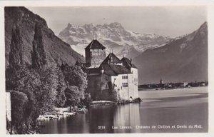 Schweiz Lac Leman Chateau du Chillon et Dents du Midi Photo