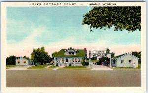 LARAMIE, WY   Roadside HEIN'S COTTAGE COURT 1940s Linen Lincoln Highway Postcard