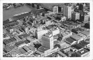 Tacoma Washington Aerial View~Business District~Ships on River~Bridge~1940s RPPC