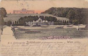 K. K. Schlossgarten Schonbrunn Mit Neptungrotte Und Gloriette, Wien, Austria,...