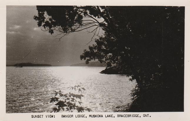 RPPC Sunset View at Bangor Lodge Muskoka Lake Bracebridge Ontario Canada pm 1957
