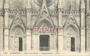 Old Postcard Avranches Notre Dame Church Facade Principale