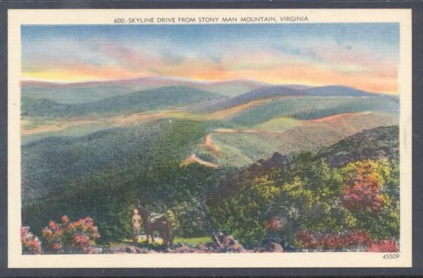 Virginia colour PC Skyline drive from Stony Man Mountain unused