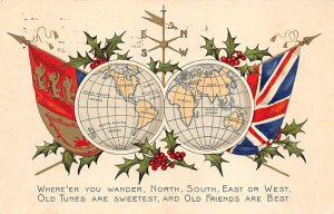 Maps North, South, East, West Globe, World 1906 Missing Stamp