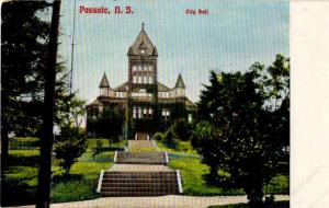 Passaic, New Jersey - Stairs leading to City Hall - c1905 -Vintage Postcard