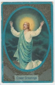EASTER, 1900-10s; Jesus Christ stretching arms toward skies, glitter detail