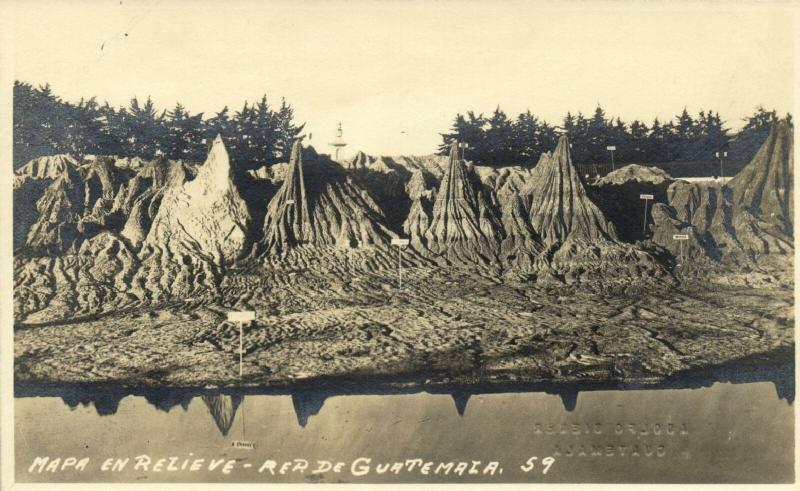 guatemala, C.A., Mapa en Relieve, Relief Map (1920s) Adolfo Biener RPPC