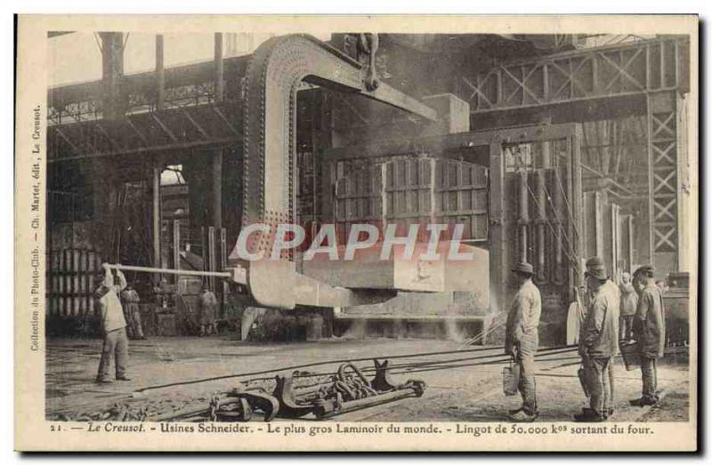 VINTAGE POSTCARD Creusot Schneider Factories the largest rol