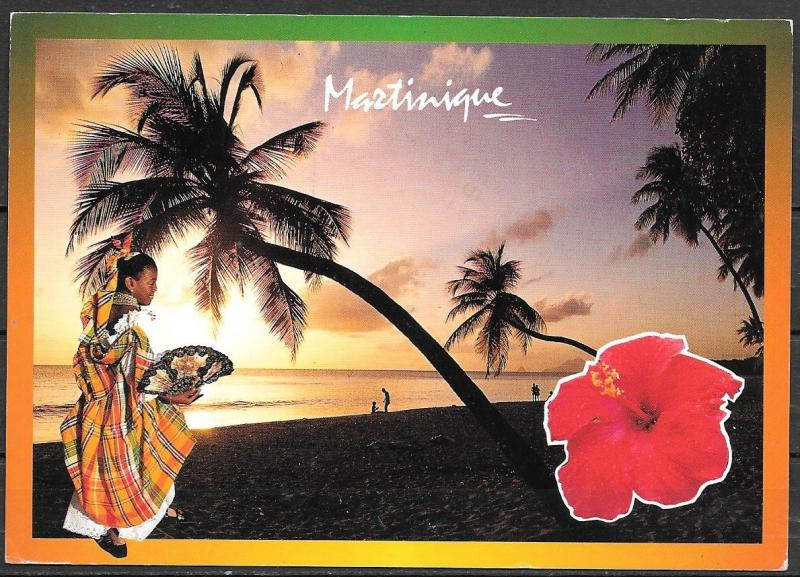 1993 Martinque, flower, palm tree, beach, mailed to USA