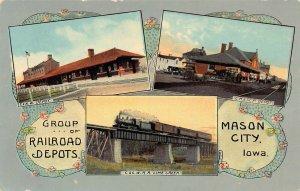 LPS50 MASON CITY Iowa Group of Railroad Station Depots Postcard