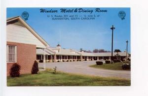 Summerton SC Windsor Motel on US Route 301 & 15 Postcard