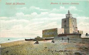 c1905 Chromograph Postcard; San Rainieri Light House Messina Italy posted