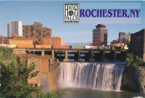 Train over High Falls at Rochester NY, New York - pm 1998