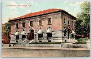 Hot Springs Arkansas~US Post Office~Doors Open~Lady on Sidewalk~1911 Postcard