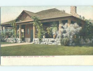 Pre-1907 LOG CABIN HOUSE ON WEST ADAMS STREET Los Angeles California CA A0274