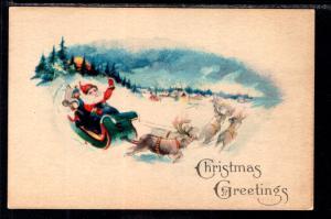 Christmas Greetings Santa and Sleigh