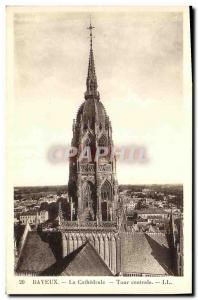 Old Postcard Bayeux Cathedral Central Tower