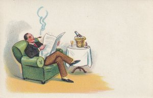Man relaxing in chair, reading newspaper, 1900-10s; Hold To Light Postcard
