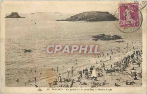 Postcard Old Saint Malo The big and the small Bey high Maree