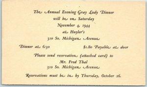 1944 Chicago IL Postcard Annual Evening Gray Lady Dinner Huyler's Restaurant