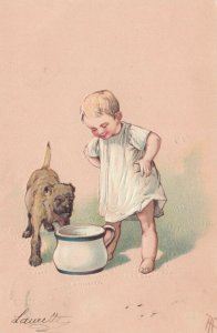 Little boy and dog looking into chamber pot, PU-1910, PFB 3412