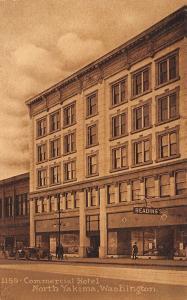 North Yakima Washington~Commercial Hotel~Man Window Shops Reading's Store~1912