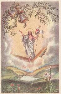 EASTER; Buona Pasqua, Jesus holding banner on clouds, Ringing Bells, Country ...