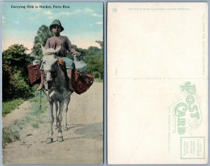 PUERTO RICO CARRYING MILK TO MARKET PORTO RICO ANTIQUE POSTCARD