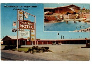 Childress TX Multiview Postcard Trade Winds Motel Hwy 287 W Swimming Pool#75377