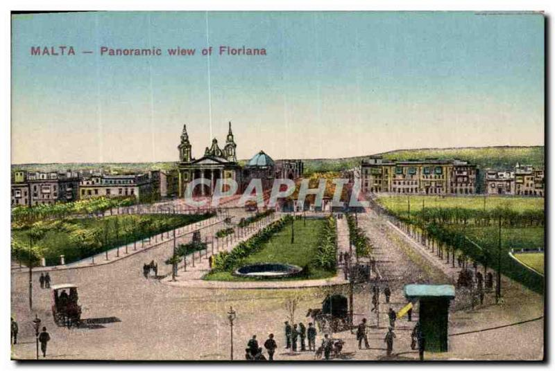 VINTAGE POSTCARD Panoramic View Floriana Malted off