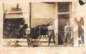 D95/ Garrison Nebraska Ne Real Photo RPPC Postcard 1914 Jack Hardware Store