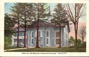 Pennsylvania Lititz The Moravian Church ans Parsonage Erected 1787  Pmk 1912