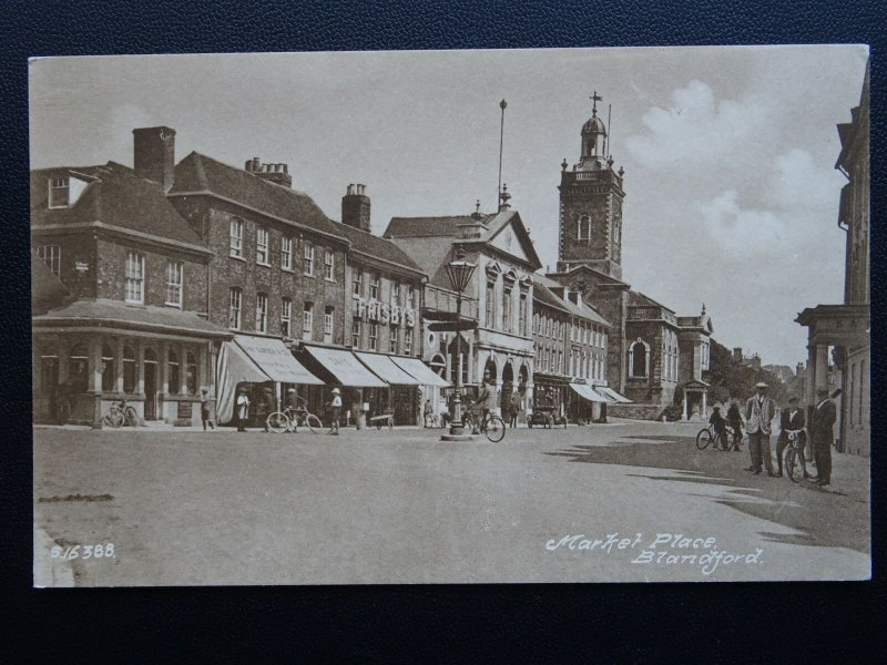 Dorset BLANDFORD Market Place c1908 Postcard by W.H.S. & Son of Blandford S16388