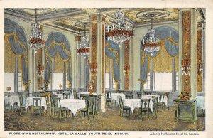 Florentine Restaurant Interior Hotel La Salle South Bend Indiana 1920s postcard