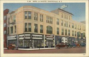 Fayetteville NC Hotel La Fayette Linen Postcard - Drug Store