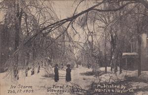 Ice Storm- Feb. 17, 1909, First Avenue, GLOVERSVILLE, New York, PU-1909