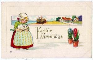 Easter Greetings - Dutch Girl with a Bunny