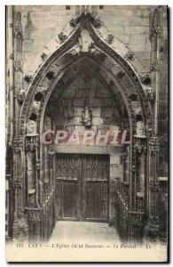 Old Postcard Caen L & # 39Eglise Saint Sauveur Portal