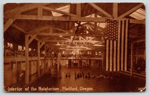 Medford OR~Interior of Natatorium~Balcony Guests Watch Swimmers~Big US Flag 1914