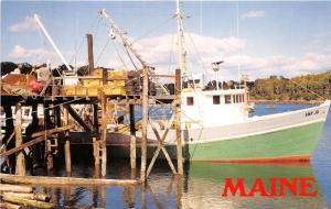 South Bristol Maine~Men Unloading Fishing Boat Amy Jo~1970s Postcard