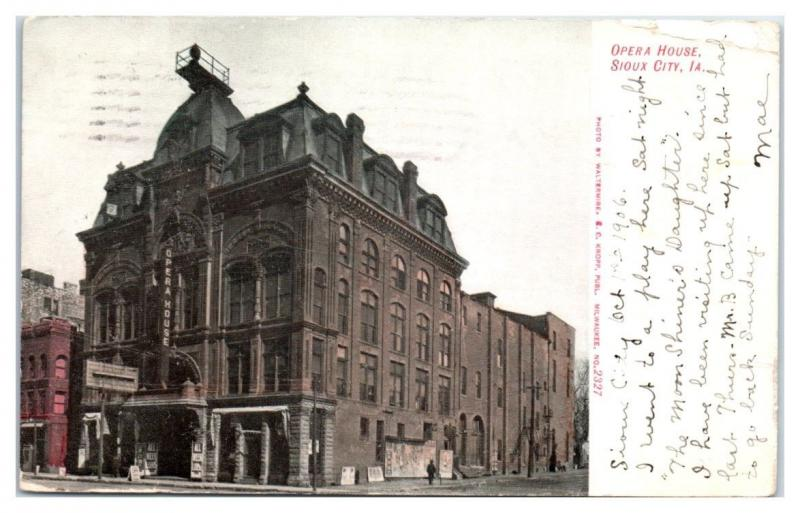 1906 Opera House, Sioux City, IA Postcard