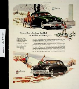 1948 Kaiser and Frazer Auto Cars Horse Snow Winter Vintage Print Ad 4167