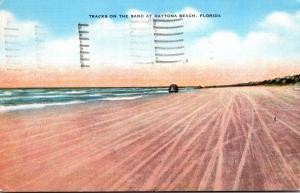 Florida Daytona Beach Tracks On The Sand 1940