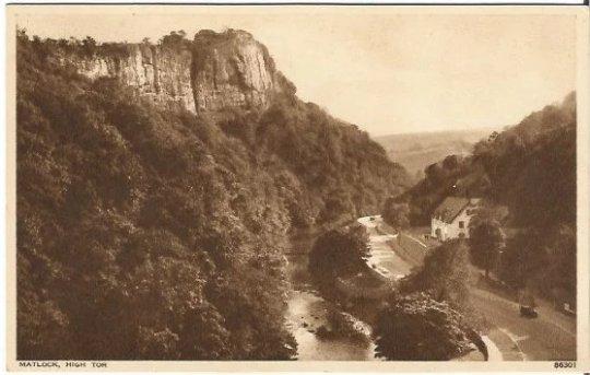 Beautiful English Mountain Scene in Sepia, Sienne Vintage Postcard