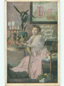 Pre-Linen WWI Reference SAD WOMAN SAYS HE WAS A JOLLY GOOD FELLOW AB7620