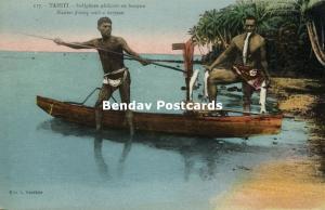 french polynesia, TAHITI, Native Tahitian Males  Fishing with Harpoon (1920s)