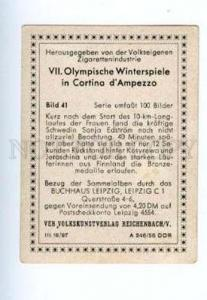 167004 VII Olympic SONJA EDSTROM Swedish skier CIGARETTE card