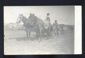 RPPC MONTROSE COLORADO STEVENS FARM FARMING WAGON REAL PHOTO POSTCARD