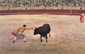 Bull Fight Course De Taureaux Le Toreador touche les cornes du Taureau